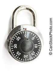 Combination Lock - A combination secure lock on a white...
