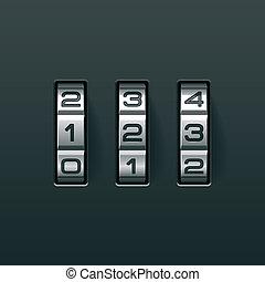 Combination lock - Vector illustration of a combination lock