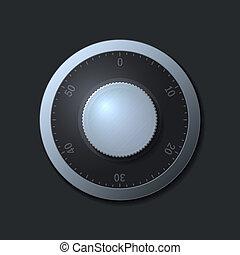 Combination lock wheel on dark background. illustration