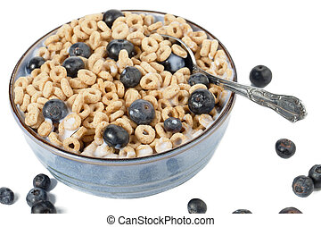 combination of cereal and blueberries