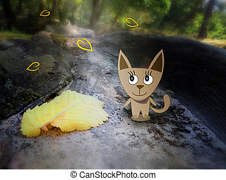 autumn leaves and a cat