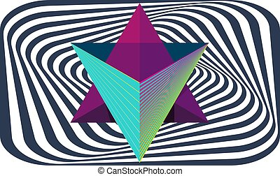 combination of triangle make a star on abstract box background