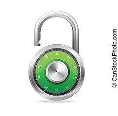 Opened Lock, Security Concept. Vector padlock