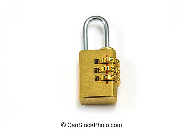 Combination padlock isolated on white background