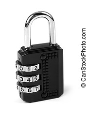 combination padlock isolated on white