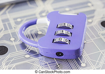 Combination padlock on digital circuits background.