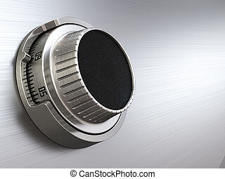 Combination safe dial lock. Concept of banking. Closeup backgro
