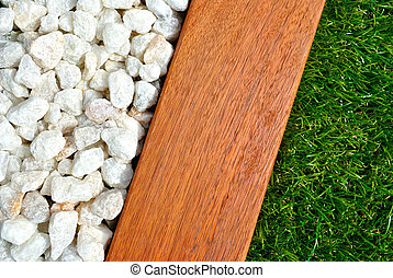Combinations of grass, timber and stones