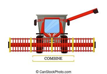 Combine Agricultural Machine Vector Illustration