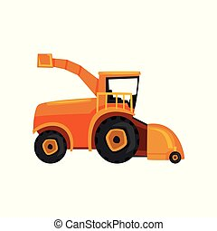 Combine farm machinery, agricultural harvester vector Illustration on a white background