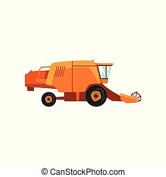 Combine harvester, agricultural machinery vector Illustration
