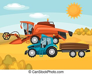 Combine harvester and tractor on wheat field. Agricultural illustration farm rural landscape