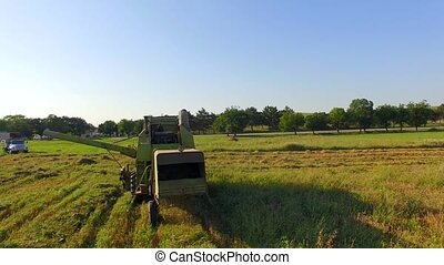 Combine Harvester Cutting Field - Rear shot of a small...