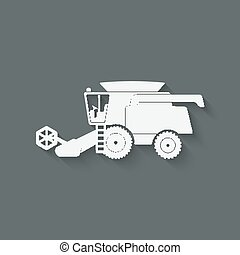 combine harvester farm machinery - vector illustration. eps 10