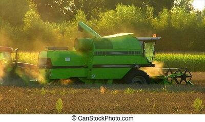 combine harvester fill tractor trai