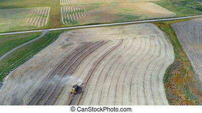 Combine harvester harvesting the crops in field 4k - Aerial...
