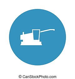 combine harvester icon on white background