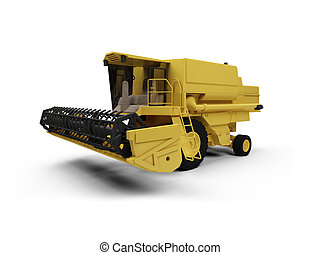 Combine Harvester - isolated combine harvester on a white ...