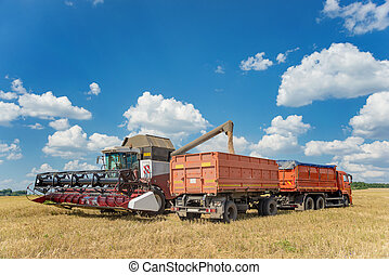 Combine harvester loading grain into a transport truck -...