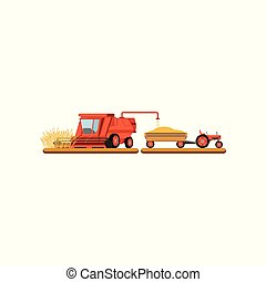 Combine harvester mowing wheat, agricultural machinery vector Illustration on a white background