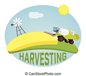Combine harvester on a wheat field against sun.