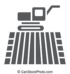 Combine harvester on field glyph icon, farming and agriculture, farm vehicle sign vector graphics, a solid pattern on a white background, eps 10.