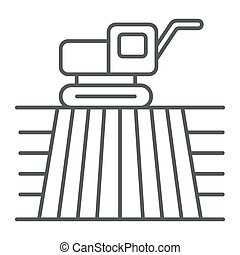 Combine harvester on field thin line icon, farming and agriculture, farm vehicle sign vector graphics, a linear pattern on a white background, eps 10.
