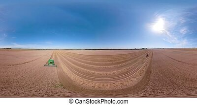 Combine harvester on wheat field VR360 - 360VR Combine...
