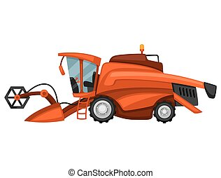 Combine harvester on white background. Abstract illustration of agricultural machinery