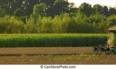 combine harvester rye field long