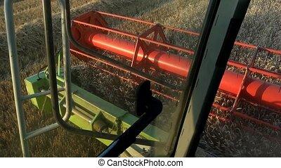Combine harvester treshing wheat cutterbars view