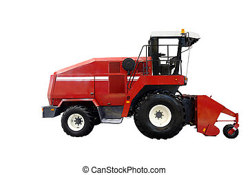 combine harvester under the white background