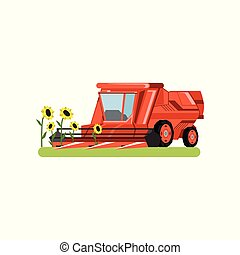 Combine harvester working in field gathering sunflowers, agricultural machinery vector isolated on a white background
