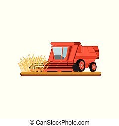 Combine harvester working in field gathering wheat, agricultural machinery vector Illustration on a white background