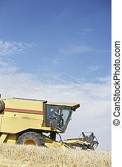 Combine Harvester Working In Field