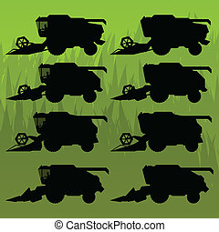 Combine harvesting crop wheat, barley, rye, oats and corn grain fields in background vector silhouette illustration