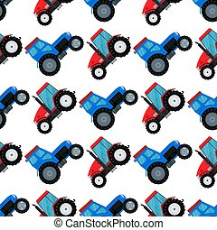 combine, industriel, illustration., ferme, modèle, seamless, tracteurs, équipement, vecteur, excavateurs, machinerie, fond, agriculture