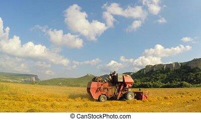Combine Mowing Grains At Picturesque Place