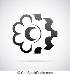 Combined cogwheel and flower logo vector design template - ...