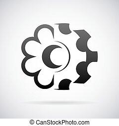 Combined cogwheel and flower logo vector design template -...