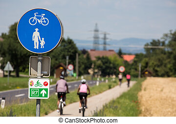 a combined cycle and walkway. cyclists and pedestrians adjacent.