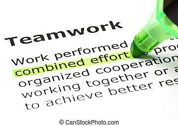 'combined, effort', evidenziato, sotto, 'teamwork'