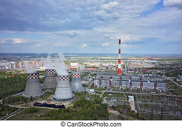 Tyumen, Russia - May 14, 2015: Aerial view on combined heat and power factory number 2 and city quarters