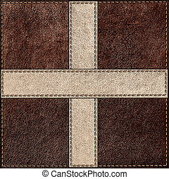 Combined stitched leather background in vintage style