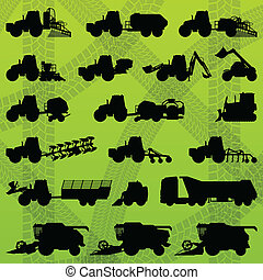 combineert, industriebedrijven, vrachtwagens, maaimachines, ...