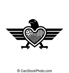 combines eagle and Heart icon,  abstract eagle. vector illustrator
