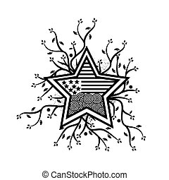 combines tree and star icon,  abstract star. vector illustrator