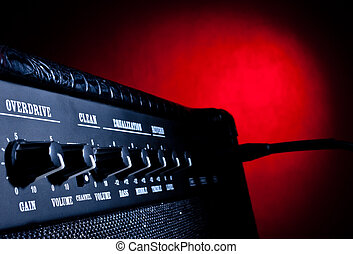 combo amplifier on red background