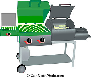 illustration of a combination propane gas grill and charcoal smoker on roller cart