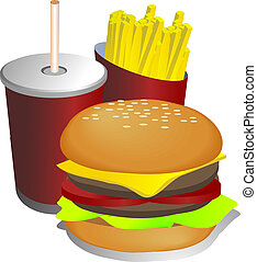 Combo meal illustration - Fast food combo meal with...